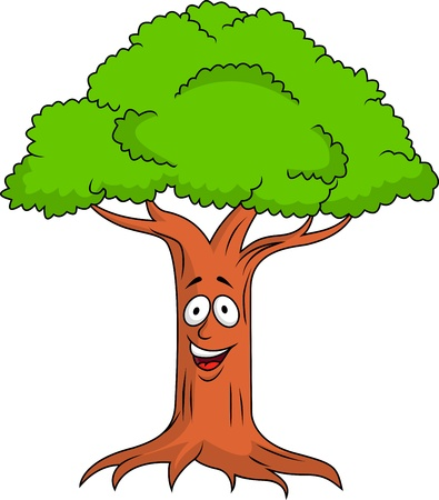 Illustration for Tree cartoon character - Royalty Free Image