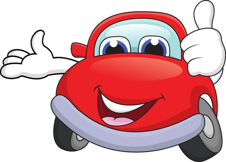 Car cartoon character with thumb up