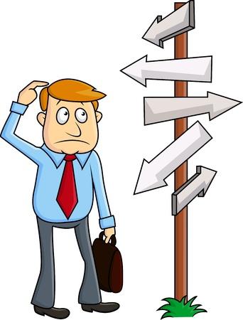 Illustration pour A business man faces a confusing decision - image libre de droit