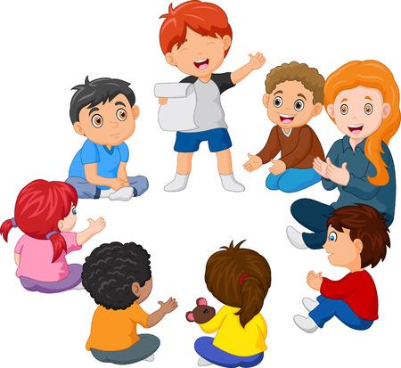 Illustration pour Kids Sitting in a Circle Reading a Poem - image libre de droit