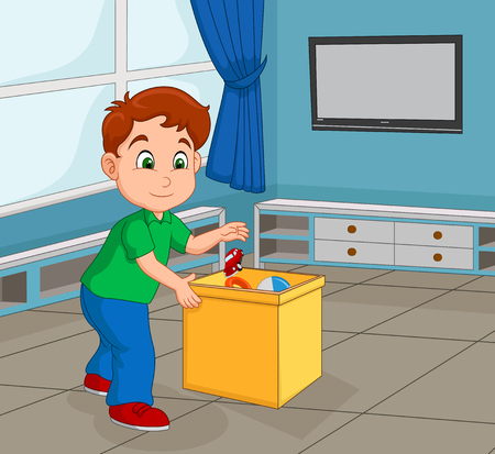 Illustration pour Boy Toddler Picking Up His Toy to Store in the Container - image libre de droit