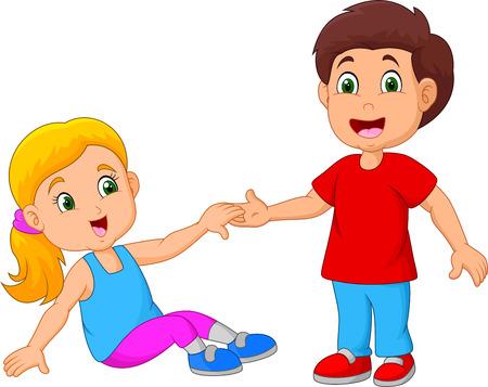 Photo pour Boy Helping a Girl Stand Up - image libre de droit
