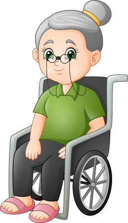 Foto de Cartoon grandmother sitting in the wheelchair - Imagen libre de derechos