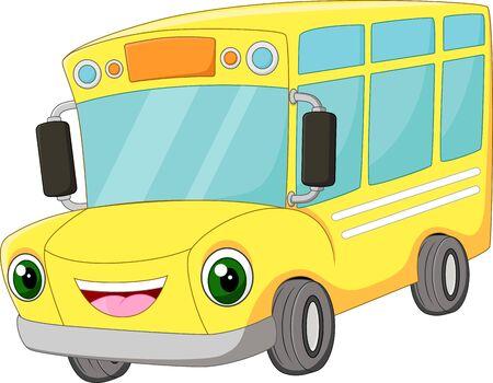 Illustration for Funny cartoon happy bus school - Royalty Free Image