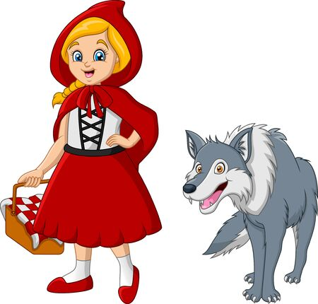 Illustration for Little red riding hood with wolf - Royalty Free Image
