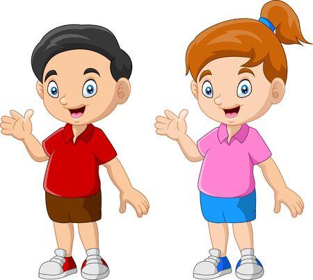 Ilustración de Happy kid cartoon funny couple - Imagen libre de derechos