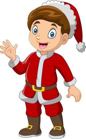 Ilustración de Cartoon boy wearing santa costumes - Imagen libre de derechos