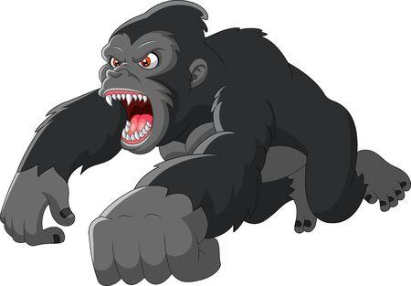 Illustration pour Cartoon big Gorilla was angry - image libre de droit