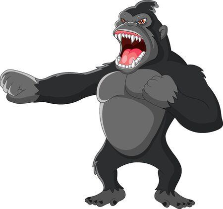 Illustration pour Angry gorilla a hitting the chest - image libre de droit