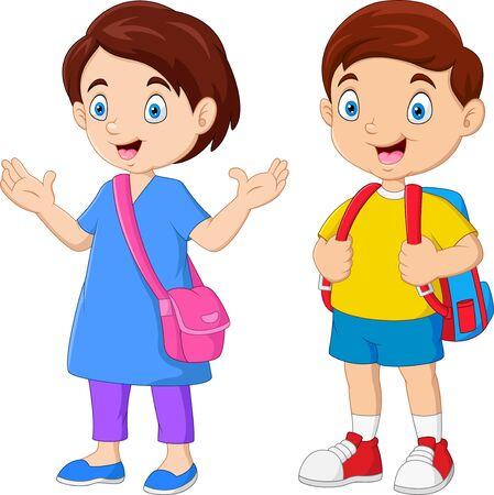 Illustration pour Cartoon school children with backpacks - image libre de droit