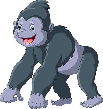 Illustration pour Cartoon funny gorilla a smile - image libre de droit
