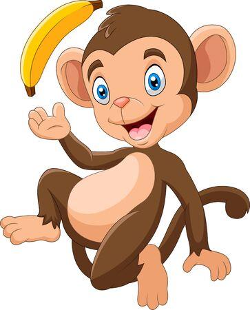 Photo pour Cartoon funny monkey holding banana - image libre de droit