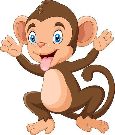 Illustration pour Cartoon Happy monkey waving hand - image libre de droit