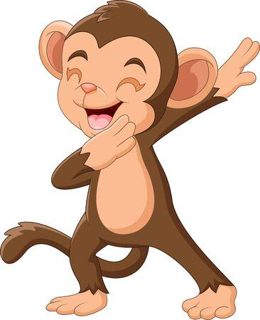 Ilustración de Cartoon Happy monkey waving hand - Imagen libre de derechos