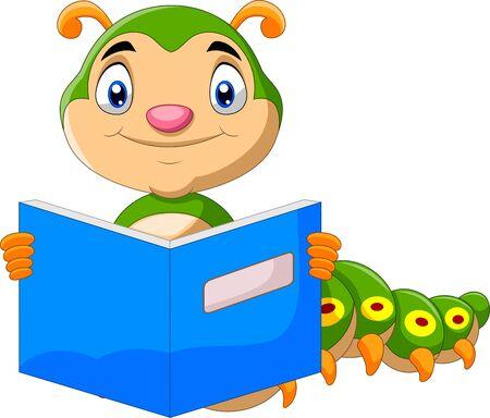 Illustration for Cartoon cute caterpillar reading book - Royalty Free Image