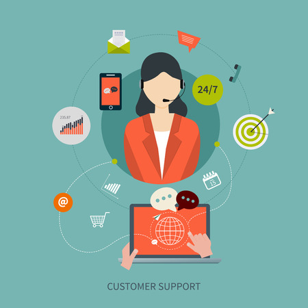 Illustration pour Business customer care service concept flat icons. Feedback. Woman with icons. Vector illustration - image libre de droit