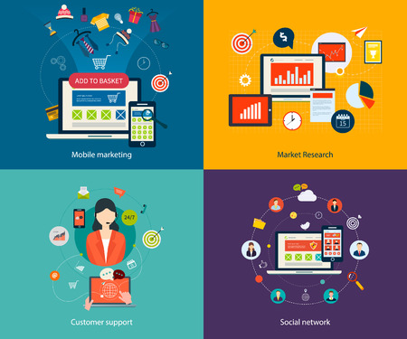 Set of flat design concept icons for mobile marketing, market research, customer support and social network. Concepts for web banners, printed materials and mobile phone services.