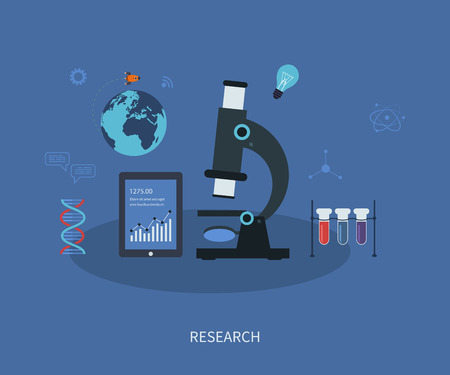 Vector icons research flat infographic with a laboratory microscope surrounded by icons depicting pharmaceutical, chemistry, medical and genetics