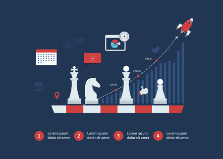 Set of flat design vector illustration concepts for strategy planning, goal-oriented planning, successful business and emerging market