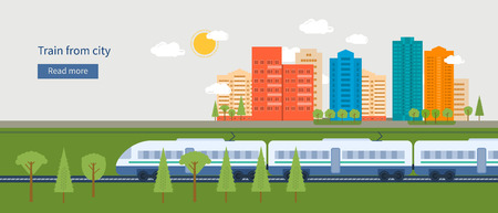 Illustration pour Flat design modern vector illustration icons set of urban landscape and train on railway - image libre de droit