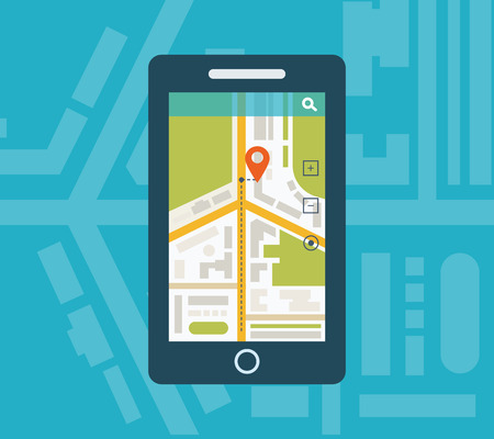 Mobile gps navigation on mobile phone with map. Mobile technologies concept.
