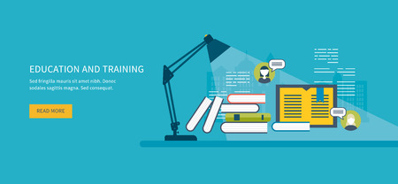 Illustration for Flat design modern vector illustration icons set of online education, online training courses, web library, tutorials.  Distance communication and training - Royalty Free Image