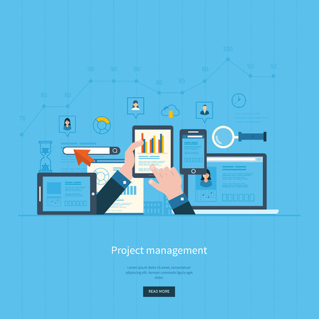 Illustration pour Flat design illustration concepts for business analysis and planning, consulting, team work, project management and development. Concepts web banner and printed materials. - image libre de droit