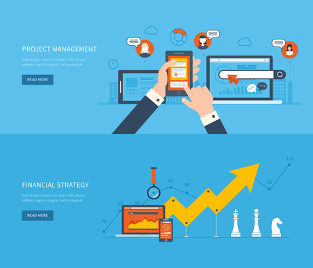 Flat design illustration concepts for business analysis and planning, financial strategy, consulting, team work, project management and development. Concept to building successful business