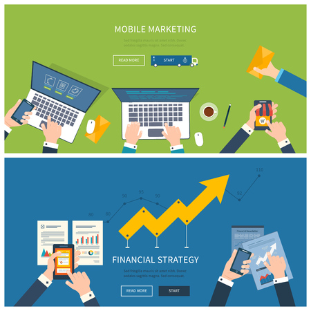 Flat design illustration concepts for business analysis and planning, team work, financial report, online shopping, project management and development. Concepts web banner and printed materials.