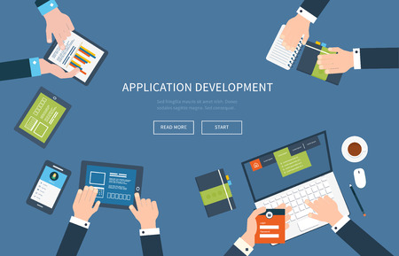 Flat design illustration concepts for business analysis, consulting, teamwork, project management and application development.