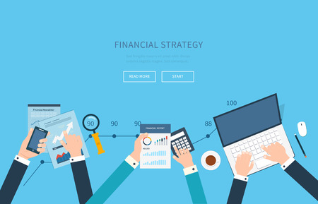 Illustration pour Flat design modern vector illustration concept of analyzing project, financial report and strategy, financial analytics, market research, teamwork and planning documents - image libre de droit
