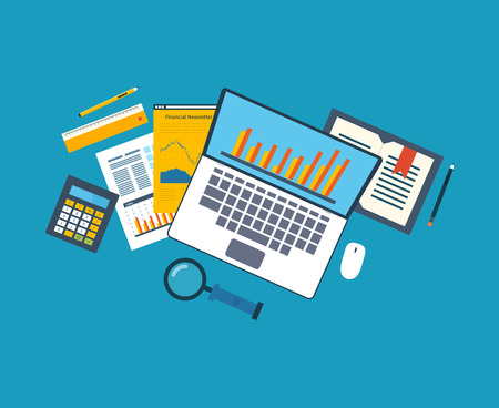 Flat design illustration concepts for business analysis, financial strategy and report, consulting, team work, project management. Concept to building successful business