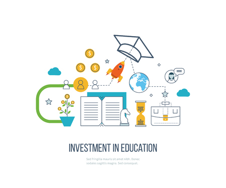Investment in education. Education concept. Strategy of successful learning. Business development