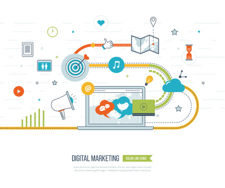 Illustration pour Digital marketing and social network concept for web and infographic. Teamwork and communication. Social media concept. Marketing strategy. Marketing plan - image libre de droit