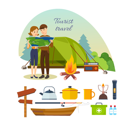 Summer travel and vacation outdoor. Couple with map in hands, engaged in hiking, camping, as well as basic equipment and tools in joint hikes. Modern vector illustration isolated on white background.