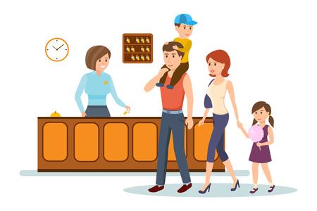 Illustration pour Receptionist serves family, advice, gives them keys to hotel room. - image libre de droit