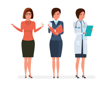 Various modern womens professions. Teacher, businesswoman, hospital doctor.