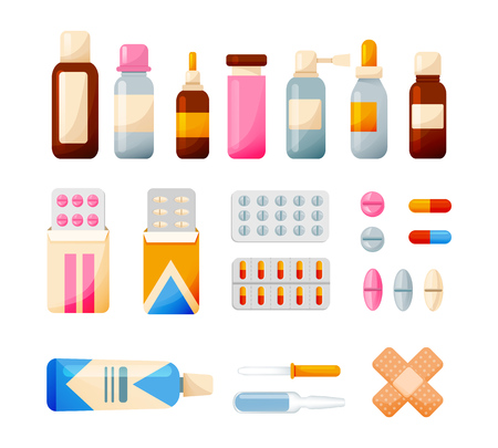 Illustration pour Medical set of elements: tablets, syrups, drops, ointments, equipment. Healthcare and medical help. Tools for medical research, treatment, work in institution Vector illustration isolated - image libre de droit