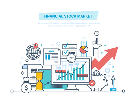 Illustration for Financial stock market. Capital markets, trading, e-commerce, investments, finance. - Royalty Free Image
