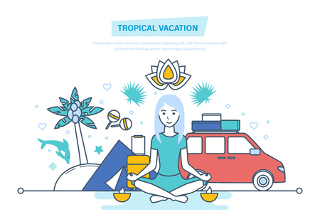 Tropical vacation. Girl is resting, vacationing in warm countries, relaxes.