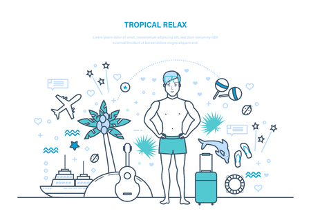 Tropical relax. Man is resting, vacationing in warm countries, relaxes.