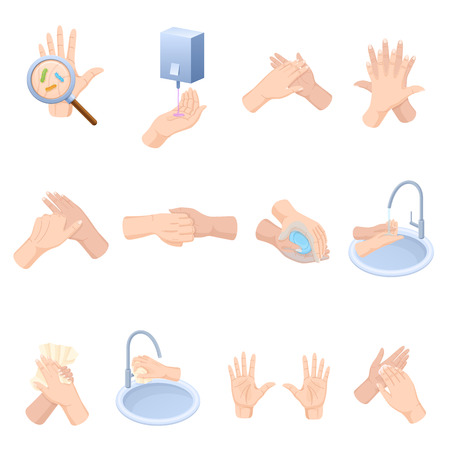 Illustration pour Stages proper care hands, washing, preventive maintenance of diseases, bacteria. - image libre de droit