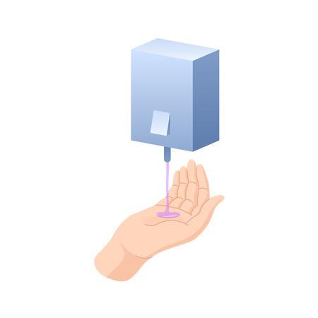 Ilustración de Hand washing with soap, disinfection, cleaning with napkins, sanitary hygiene. - Imagen libre de derechos