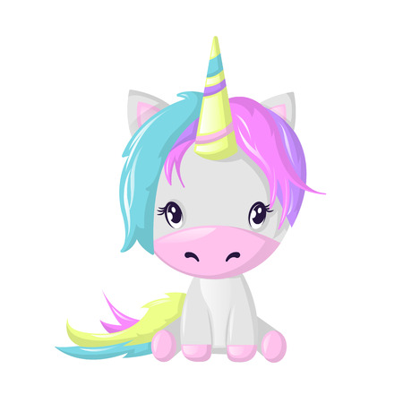 Illustration pour Funny beautiful fictional cartoon character, colorful unicorn. Fantasy fairy animal. - image libre de droit