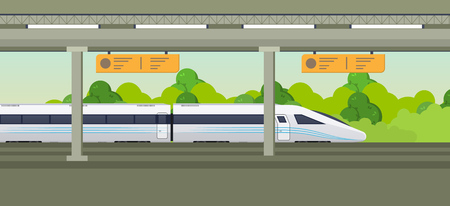 Illustration for Modern fast train on railway station. Railway type transport, locomotive. - Royalty Free Image