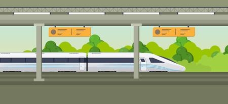 Modern fast train on railway station. Railway type transport, locomotive.
