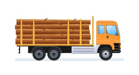 Ilustración de Wood production and forestry. Transportation of natural resources. - Imagen libre de derechos