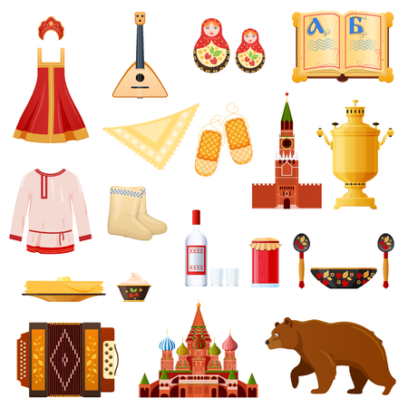 Set of traditional national objects russian culture, landmarks, symbols.
