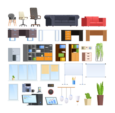 Illustration for Set of large collection of office and home modern furniture. - Royalty Free Image