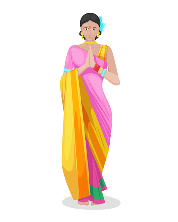 Ilustración de Beautiful Indian young girl, woman in colorful traditional dress of sari, welcomes having folded hands in certain way with palms facing each other, women of indians. Vector illustration isolated. - Imagen libre de derechos